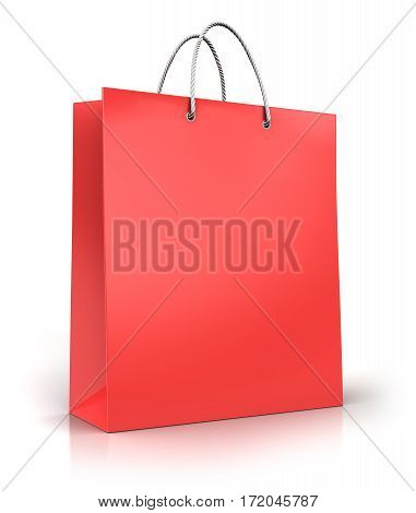 3D render illustration of red color paper shopping bag isolated on white background with reflection effect