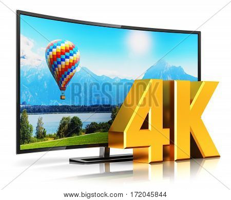 3D render illustration of curved 4K UltraHD resolution TV cinema or computer PC monitor display isolated on white background with reflection effect