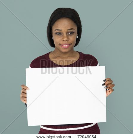 Woman Holding Board Banner Advertising