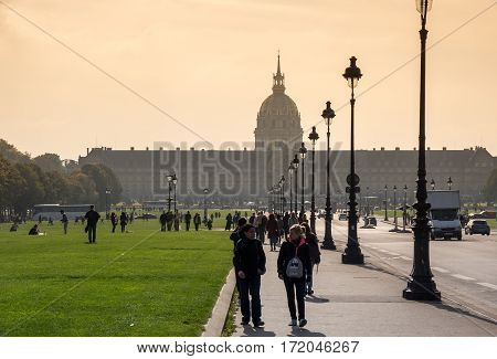 PARIS FRANCE - OCTOBER 11 2015: Les Invalides commonly known as The National Residence of the Invalids is a complex of buildings in Paris France containing museums and monuments all relating to the military history of France