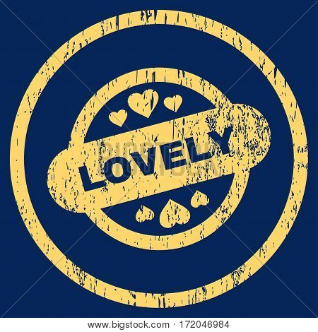 Lovely Stamp Seal grainy textured icon for overlay watermark stamps. Rounded flat vector symbol with dirty texture. Circled yellow ink rubber seal stamp with grunge design on a blue background.