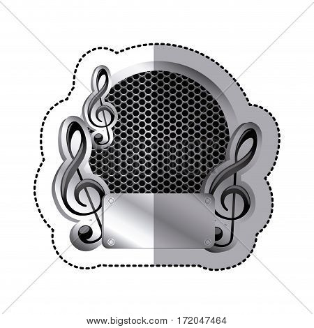 emblem music plaque icon image, vector illustration