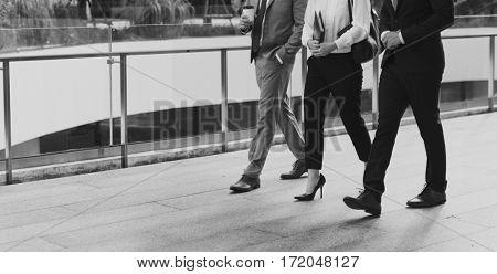 Businesspeople Men Women Walk Colleague