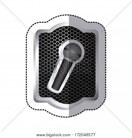 emblem microphone icon stock, vector illustration design