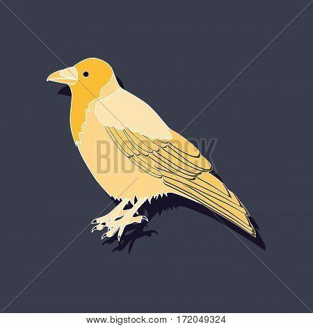 raven paper sticker on stylish background isolated