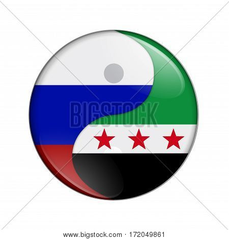 Russia and Syria working together The Russia flag and Syrian flag on a yin yang symbol isolated over white 3D Illustration