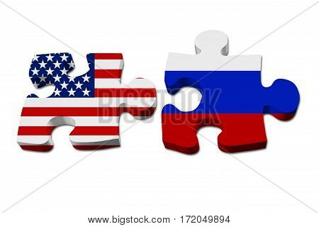 USA and Russia working together The US flag and Russian flag on two puzzle pieces isolated over white 3D Illustration