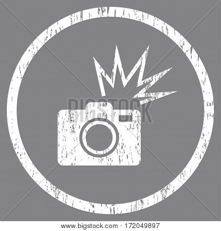Camera Flash grainy textured icon for overlay watermark stamps. Rounded flat vector symbol with dust texture. Circled white ink rubber seal stamp with grunge design on a gray background.
