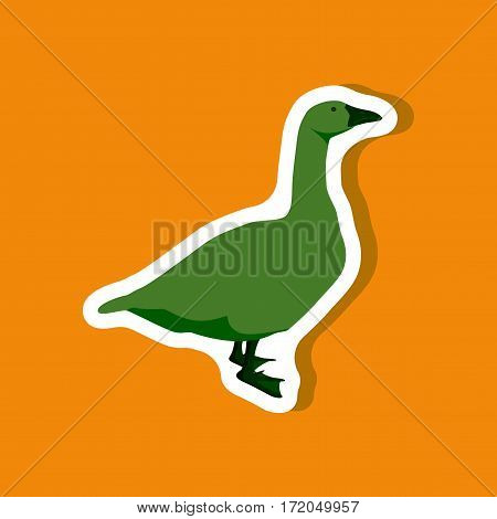 goose paper sticker on stylish background isolated
