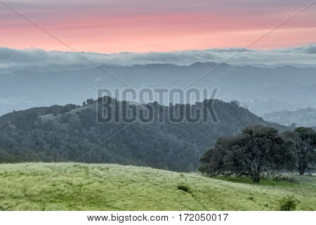 Dramatic Sunset at Mt Diablo State Park, Contra Costa County, California, USA