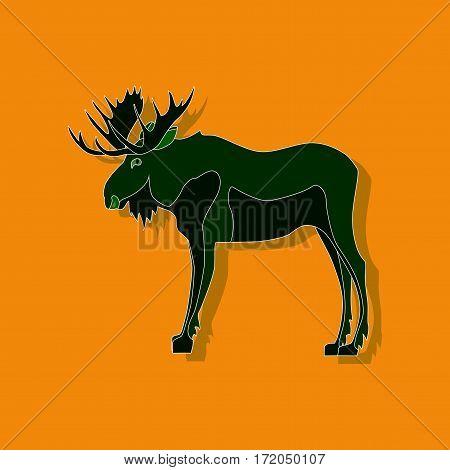paper sticker on stylish background isolated Elk