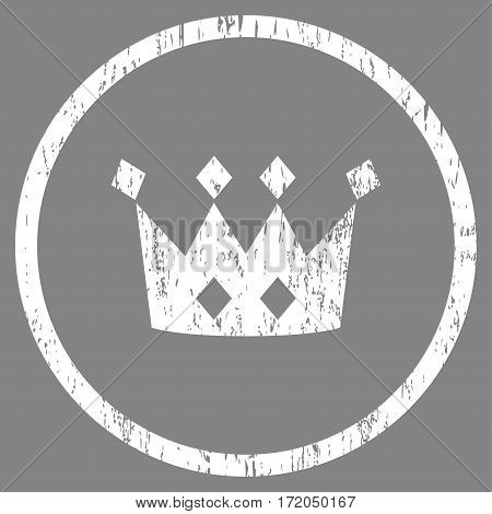 Crown grainy textured icon for overlay watermark stamps. Rounded flat vector symbol with scratched texture. Circled white ink rubber seal stamp with grunge design on a gray background.