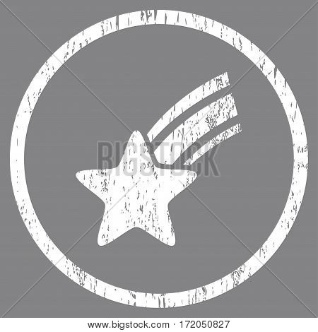 Falling Star grainy textured icon for overlay watermark stamps. Rounded flat vector symbol with dirty texture. Circled white ink rubber seal stamp with grunge design on a gray background.