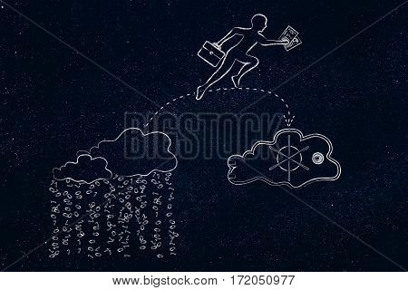 concept of protecting your files on cloud computing services: business man jumpying to take his document out of a cloud with binary rain lean and into a safebox cloud poster