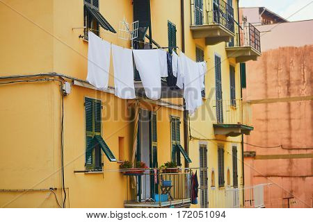 Linen Hanging On A Street Of Italian Town