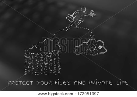 Business Man Jumpying With Docs From Unsafe To Safe Cloud Service