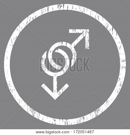 Gay Love Symbol grainy textured icon for overlay watermark stamps. Rounded flat vector symbol with unclean texture. Circled white ink rubber seal stamp with grunge design on a gray background.
