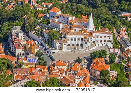 Sintra town. Portugal. National Palace, Portugalian landmark.