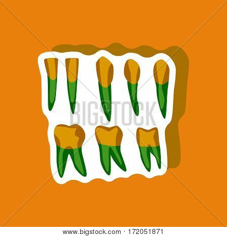 tooth paper sticker on stylish background isolated