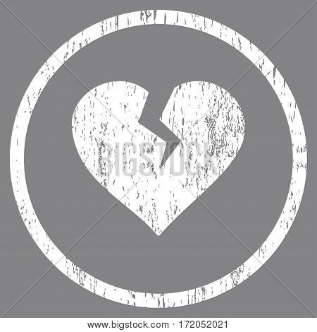 Heart Break grainy textured icon for overlay watermark stamps. Rounded flat vector symbol with unclean texture. Circled white ink rubber seal stamp with grunge design on a gray background.