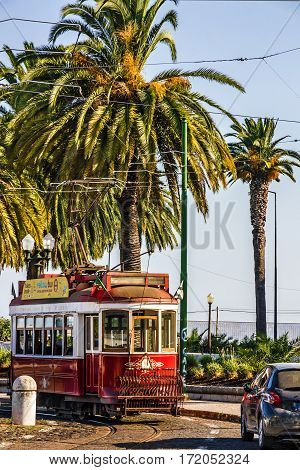 Lisboa, Portugal - May 3, 2016: Historic red tram in Lisbon, Portugal.
