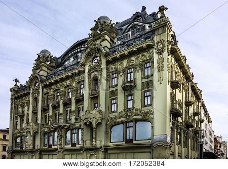 Odessa, Ukraine. Building of hotel in baroque style. Deribasovskaya street