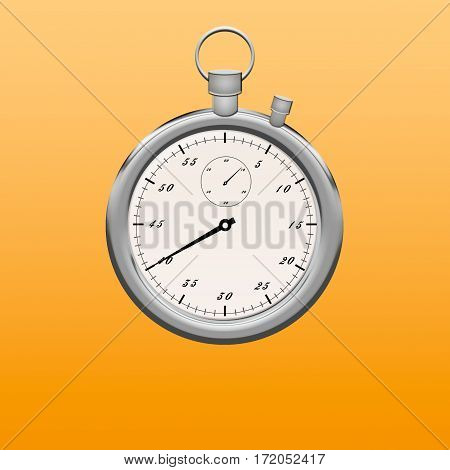 Stopwatch on white background with clipping path. Stopwatch metallic color insulated . Icon
