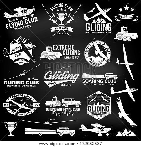 Soaring club retro badges and design elements. Vector illustration. Gliding club design on the chalkboard. . Concept for shirt, print, seal or stamp. Family vacation, activity or travel.