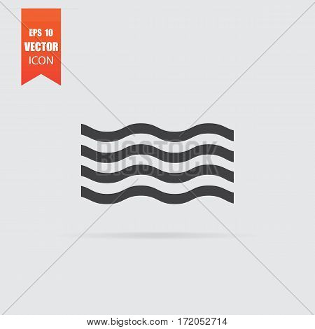 Wave Icon In Flat Style Isolated On Grey Background.
