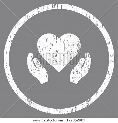 Love Care Hands grainy textured icon for overlay watermark stamps. Rounded flat vector symbol with scratched texture. Circled white ink rubber seal stamp with grunge design on a gray background.