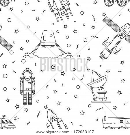 Space memphis seamless pattern. Fashion 80-90s. Black and white mosaic textures. Vector illustration. Human mission to Mars. Thin line icon.