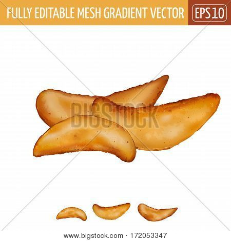 Potatoes rustic isolated realistic illustration on white background.