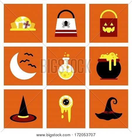 assembly of flat icons halloween bag potion bottle moon bats cauldron zombie eyes bag gravestone witch hat