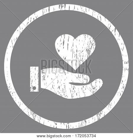 Love Heart Offer Hand grainy textured icon for overlay watermark stamps. Rounded flat vector symbol with scratched texture. Circled white ink rubber seal stamp with grunge design on a gray background.