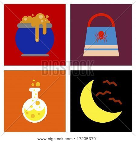 assembly of flat icons halloween bag potion bottle moon bats cauldron