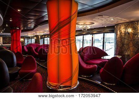Cruise liner Splendida - March 30, 2017: Bar interior on cruise liner Splendida.