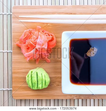 soy sauce, ginger and wasabi