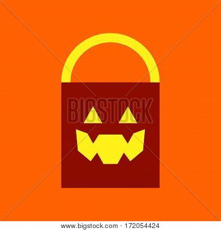flat icon on stylish background halloween bag
