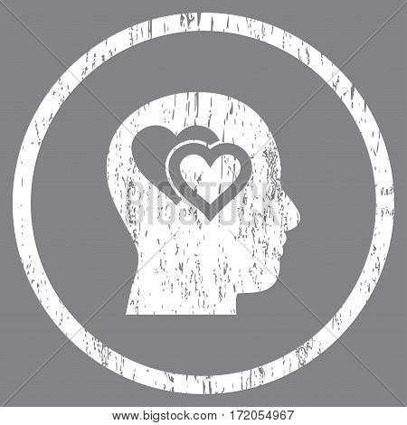 Love In Mind grainy textured icon for overlay watermark stamps. Rounded flat vector symbol with unclean texture. Circled white ink rubber seal stamp with grunge design on a gray background.
