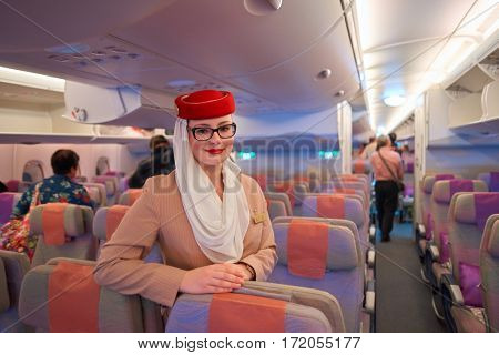 MOSCOW, RUSSIA - CIRCA NOVEMBER, 2016: crew member on board the Airbus A380. The Airbus A380 is a double-deck, wide-body, four-engine jet airliner.