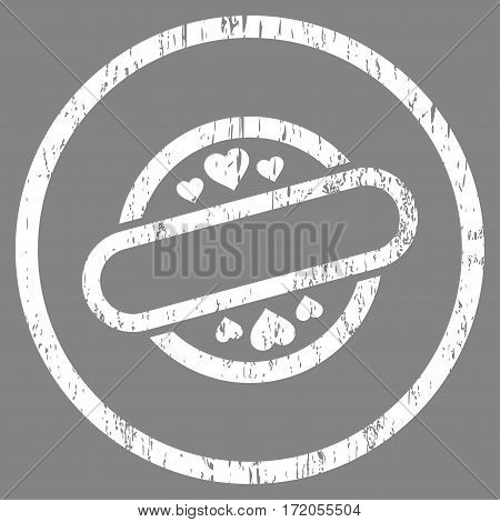 Love Stamp Seal grainy textured icon for overlay watermark stamps. Rounded flat vector symbol with dirty texture. Circled white ink rubber seal stamp with grunge design on a gray background.
