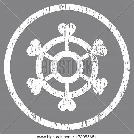 Lovely Boat Steering Wheel grainy textured icon for overlay watermark stamps. Rounded flat vector symbol with dust texture. Circled white ink rubber seal stamp with grunge design on a gray background.