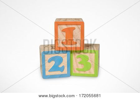 1 2 3 Wooden Learning Blocks (with clipping path)