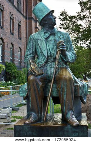 Copenhagen, Denmark - April 19, 2017:Hans Christian Andersen statue in Copenhagen, Denmark. Danish author and poet best remembered for his fairy tales.