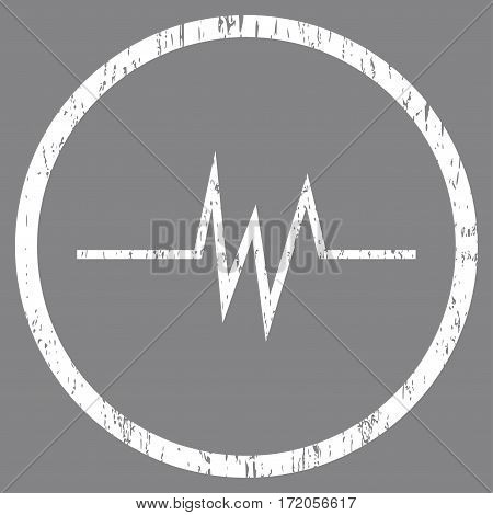 Pulse Signal grainy textured icon for overlay watermark stamps. Rounded flat vector symbol with scratched texture. Circled white ink rubber seal stamp with grunge design on a gray background.