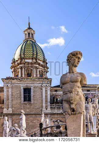 Palermo Fontana Pretoria architectural view, Sicily, Italy.