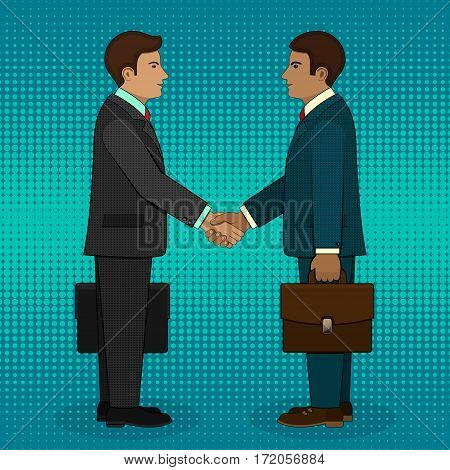 Meeting of two businessmen and business handshake in pop art retro style. Vector illustration.