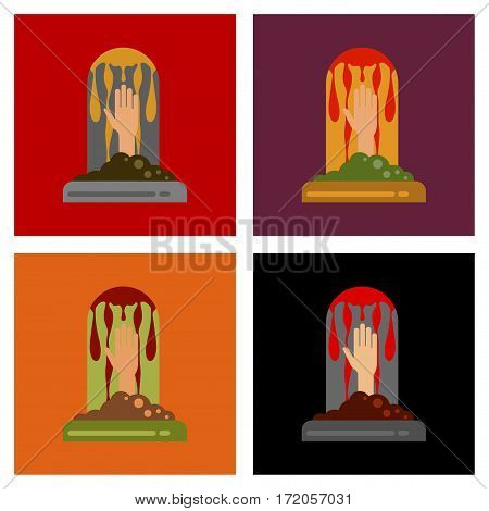 assembly of flat icons halloween stone graves