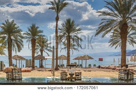 Central beach of Eilat - famous resort city in Israel
