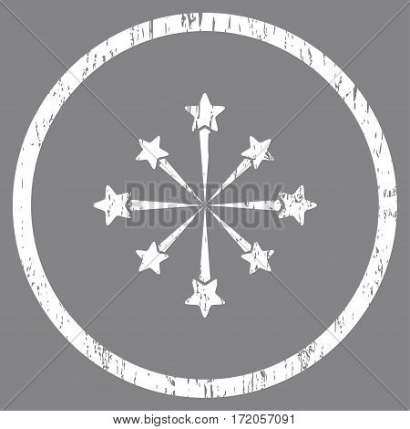 Star Burst Fireworks grainy textured icon for overlay watermark stamps. Rounded flat vector symbol with dirty texture. Circled white ink rubber seal stamp with grunge design on a gray background.